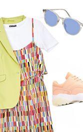 Разные комплекты с летним макси-платьем на бретелях