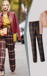 Street style із брюками в клітинку