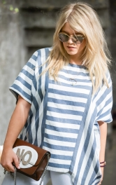 Жіноча смугаста блуза широкого крою Burdastyle