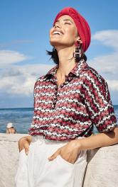 Жіноча блузка із застібкою поло Burdastyle