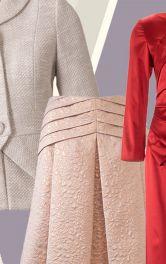 жакет, спідниця і сукня із декоративними складками