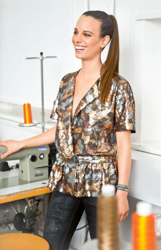 Блузка з короткими рукавами кімоно