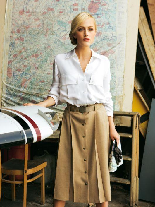 Блузка-сорочка із зустрічною складкою на спинці