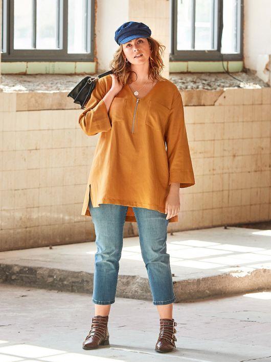 Блуза А-силуету з видовженою спинкою