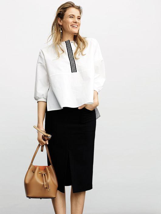 Блуза простора з видовженою спинкою