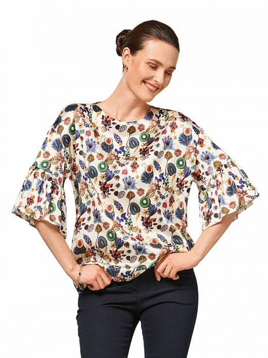 Блуза з широкими оборками на рукавах