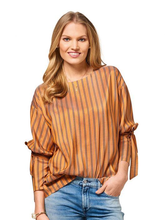 Блуза просторого силуету із зав'язками на рукавах