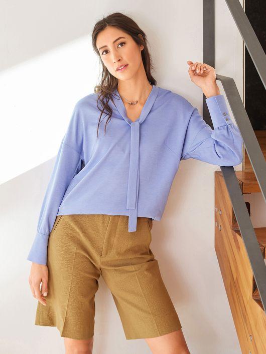 Блуза із застібкою поло на спинці