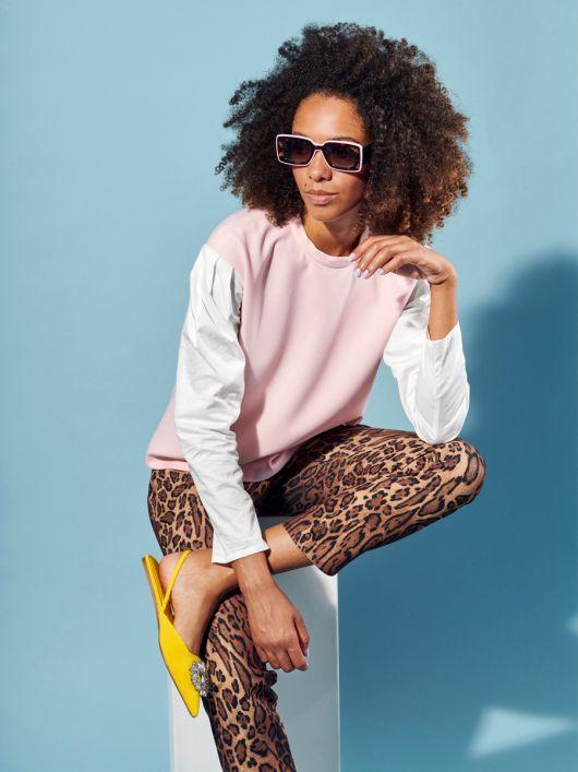 Пуловер із рукавами з попліну