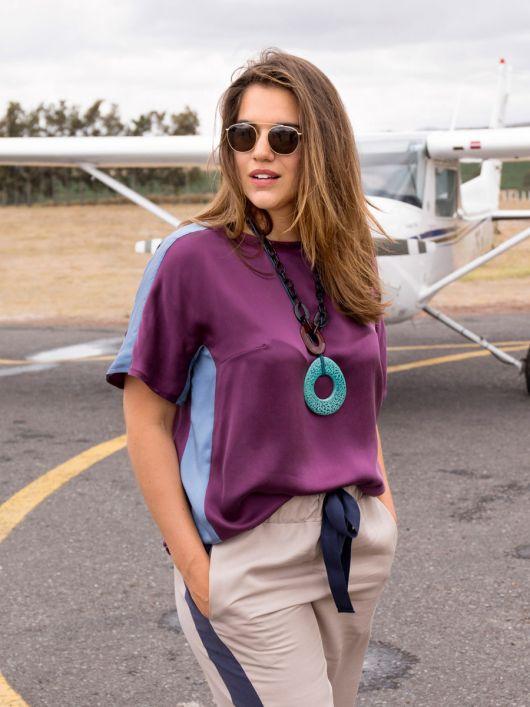 Блуза прямого крою в стилі колор-блокінг