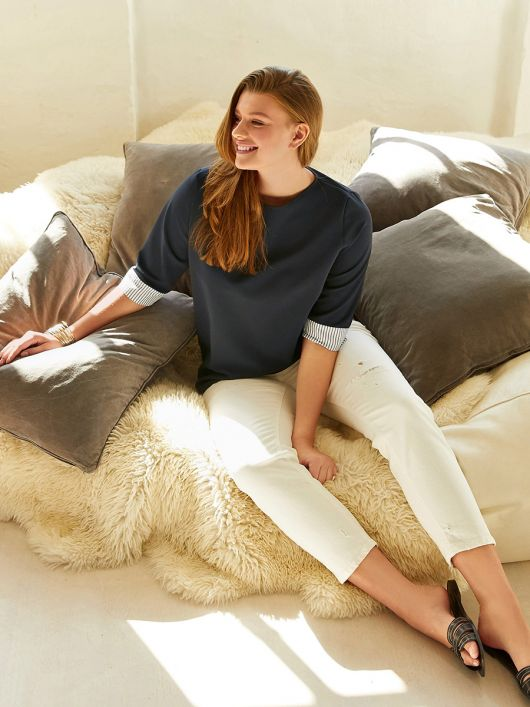 Пуловер прямого кроя с двойным эффектом