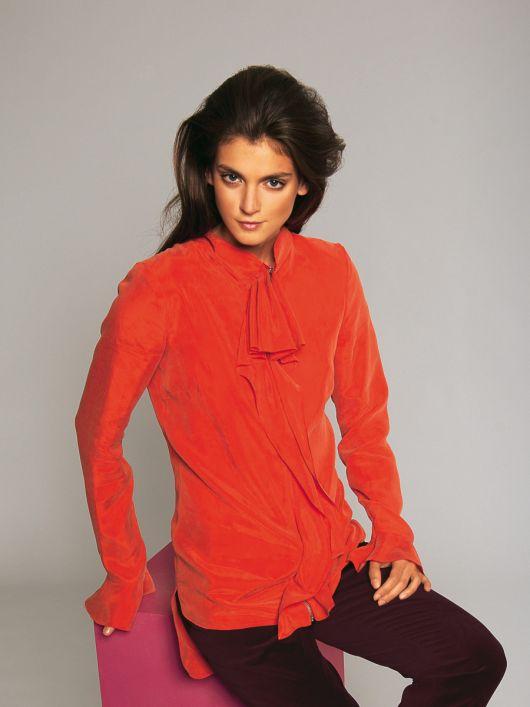 Блуза з високим коміром і видовженою спинкою