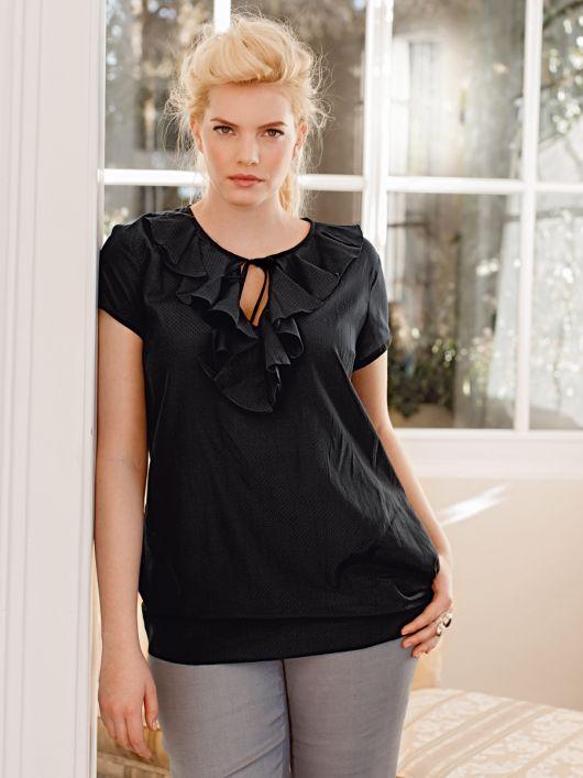 Блуза прямого крою з воланами