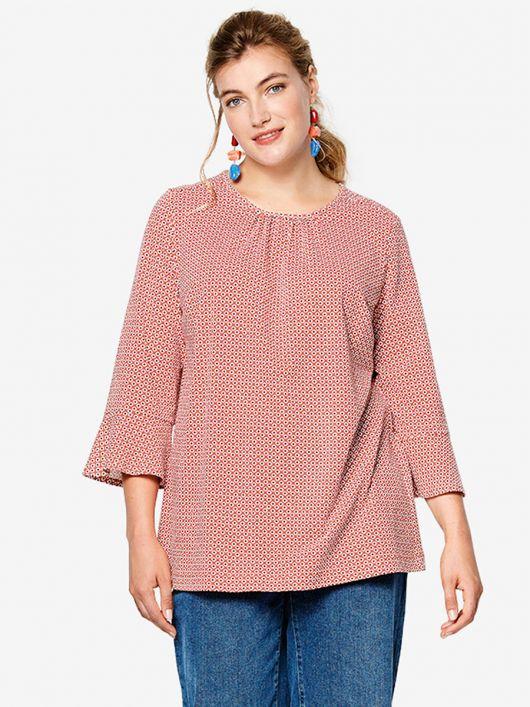 Блуза трикотажна з воланами на рукавах