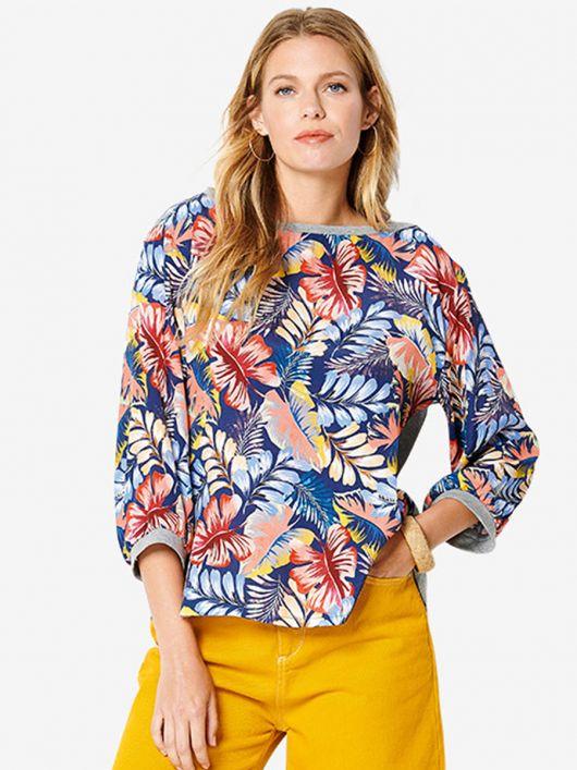 Блуза прямого крою із трикотажною спинкою