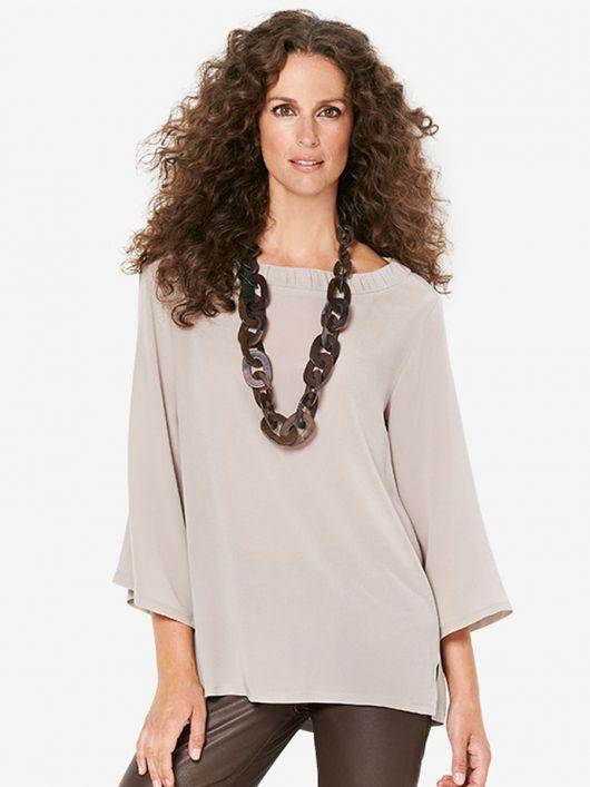 Блуза прямого крою із боковими розрізами