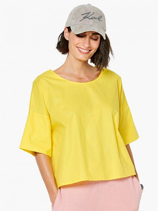 Блуза просторого силуету з короткими рукавами
