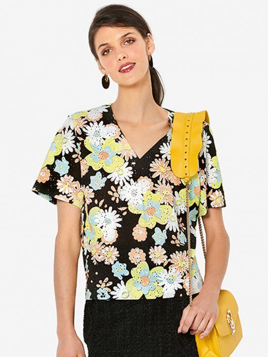 Блуза прямого крою з короткими рукавами