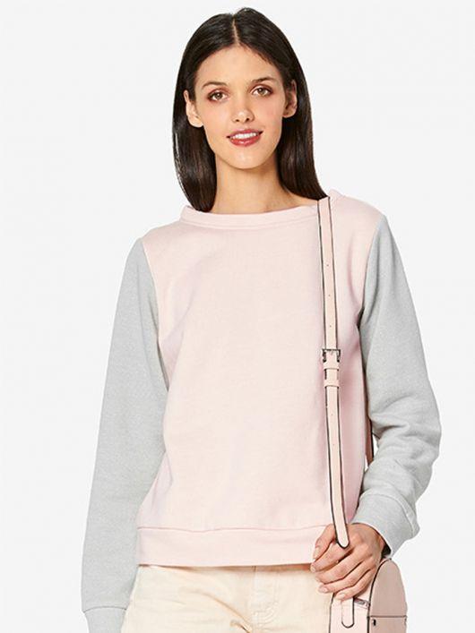 Пуловер спортивного кроя комбинированный