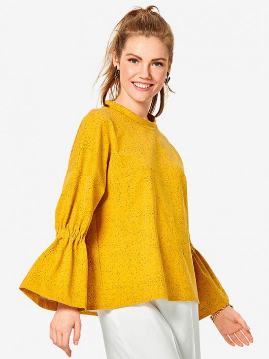 Пуловер свобдного кроя с оборками на рукавах