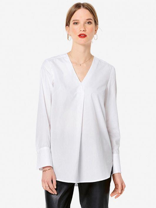 Блуза прямого крою з округленим нижнім краєм
