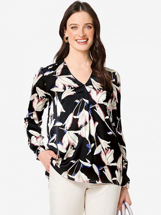 Блуза прямого крою зі складкою біля горловини