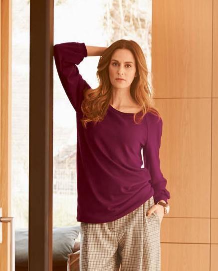 Пуловер з рукавами реглан на манжетах
