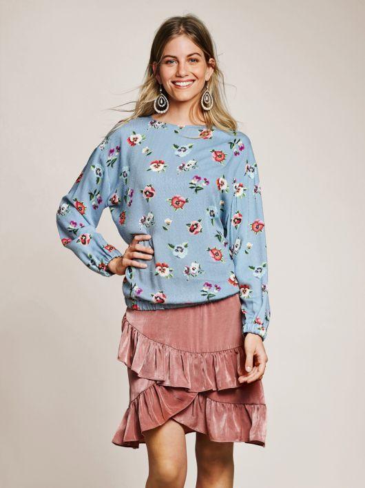 Блуза прямого крою з довгими рукавами