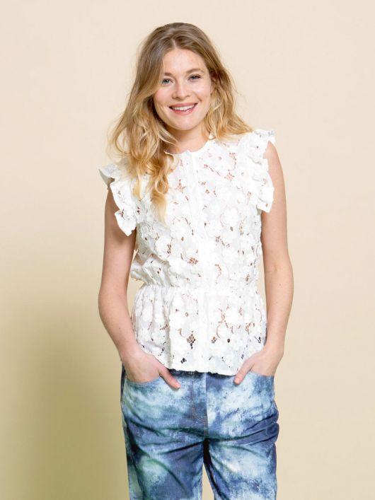 Блузка без рукавів із мереживного полотна