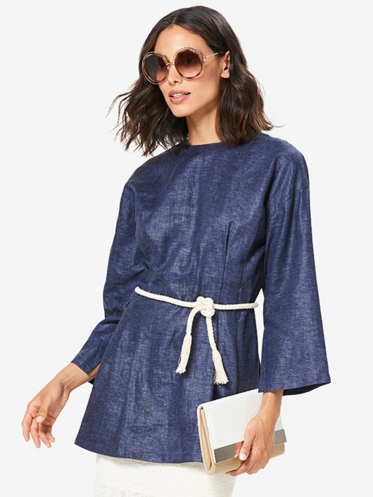 Блуза лляна приталеного крою