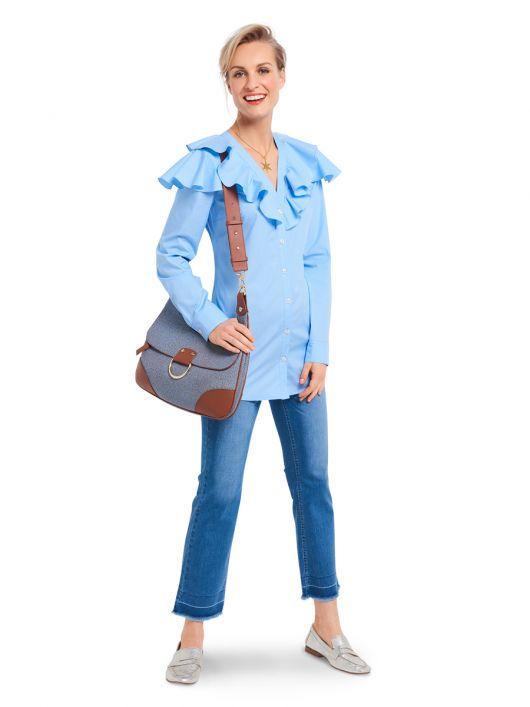 Блузка-сорочка приталеного силуету з воланами