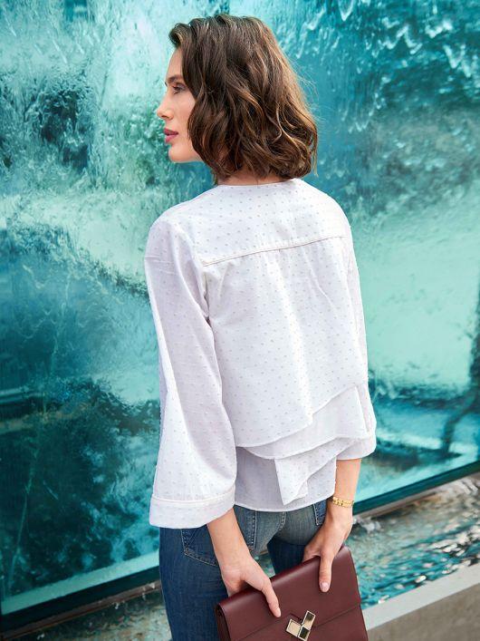 Блуза прямого крою з воланом на спинці