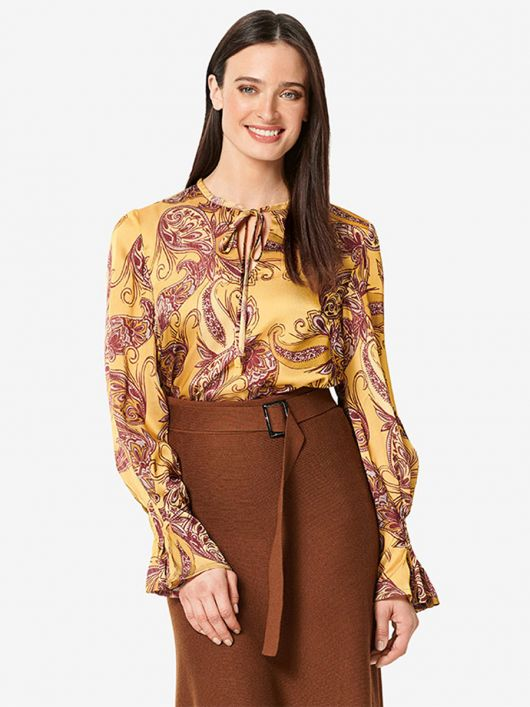 Блуза А-силуету зі складками на рукавах