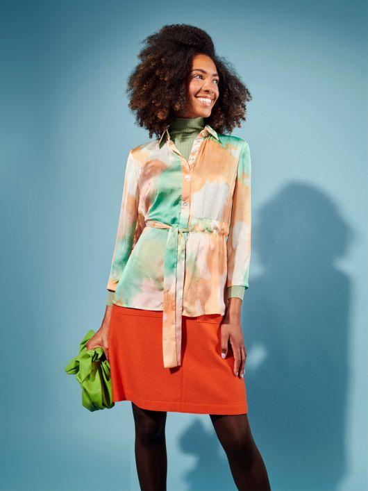 Блузка сорочкового крою з поясом