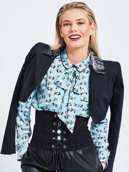 Блузка-сорочка з круглим коміром