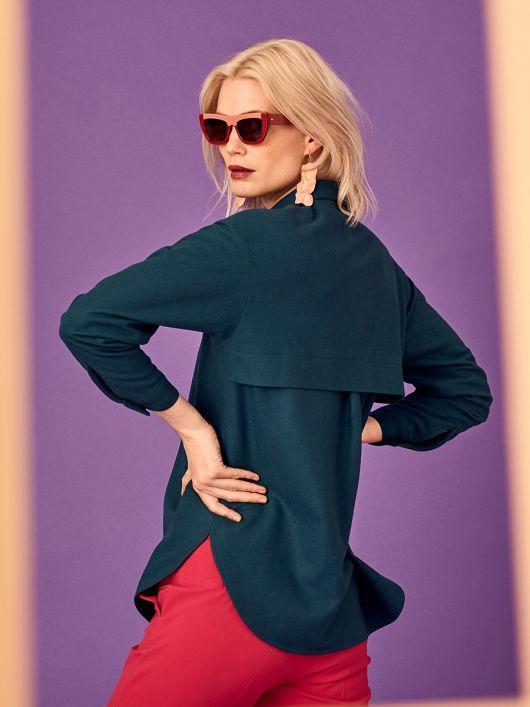 Блузка-рубашка с отлетной кокеткой
