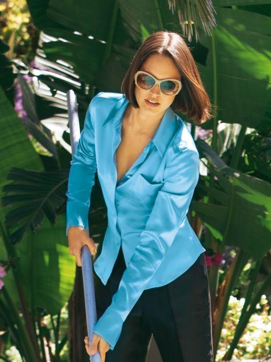 Блуза-сорочка атласна з прихованою застібкою