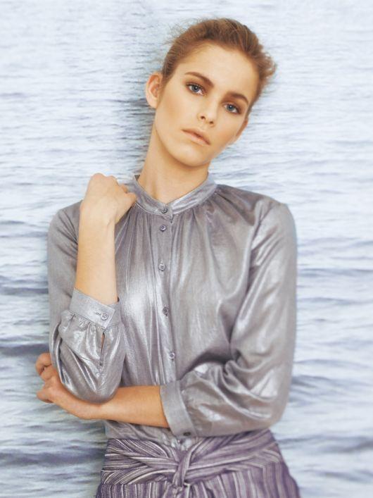 Блуза-сорочка з металізованого батисту