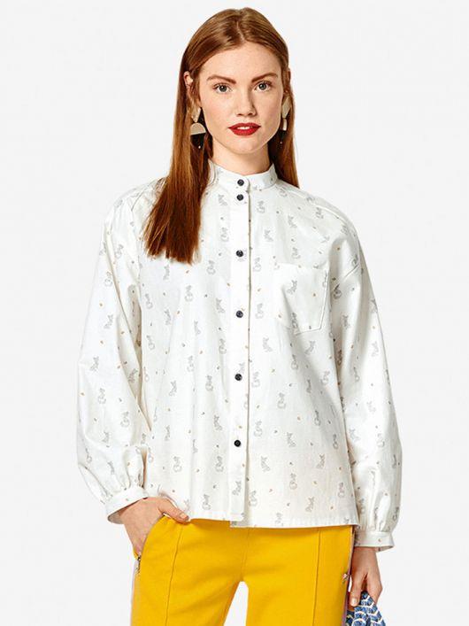 Блуза-рубашка с воротником-стойкой