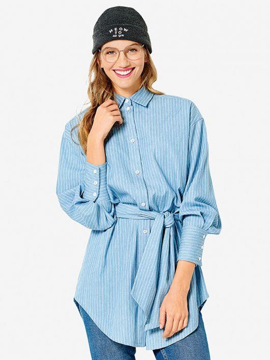 Блуза-сорочка з широким поясом