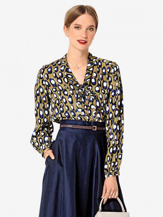 Блузка-сорочка із зав'язкою під коміром