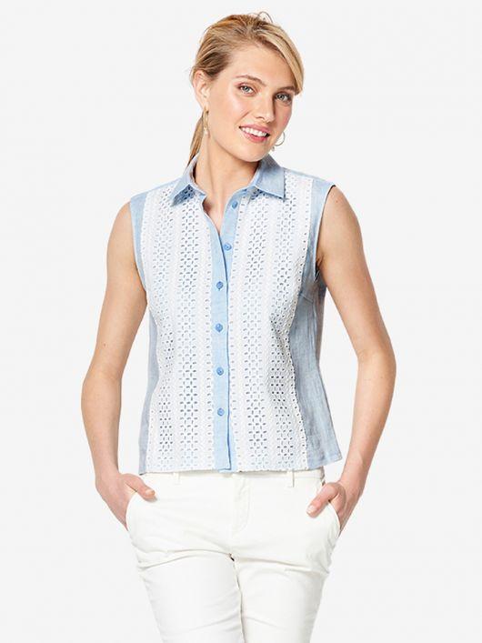 Блузка приталеного крою без рукавів