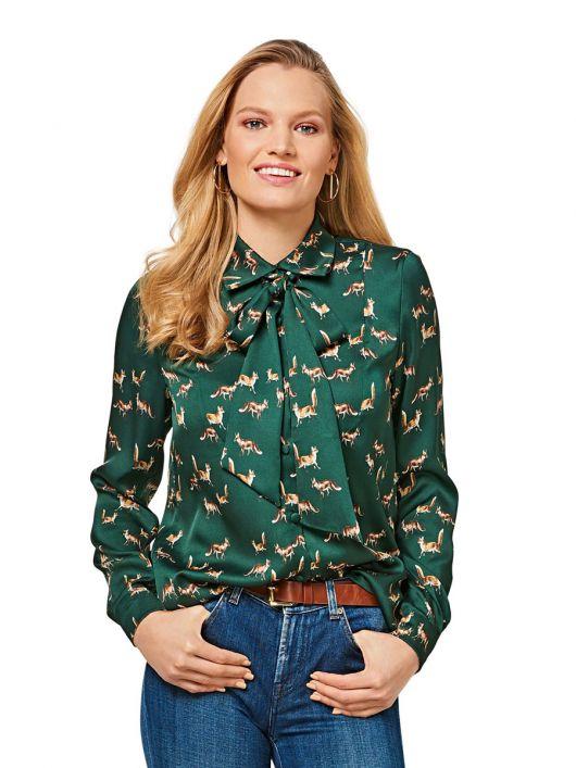 Блуза-сорочка з пластроном і знімним бантом