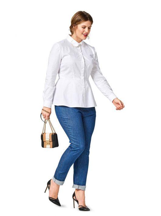 Блузка сорочкового крою з баскою