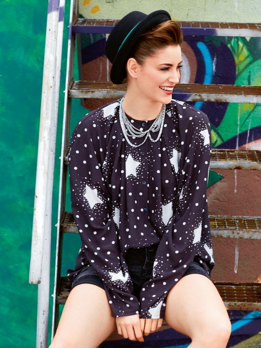 Блуза просторого крою з рукавами реглан