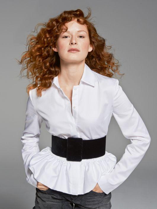 Блузка з баскою і сорочковим коміром
