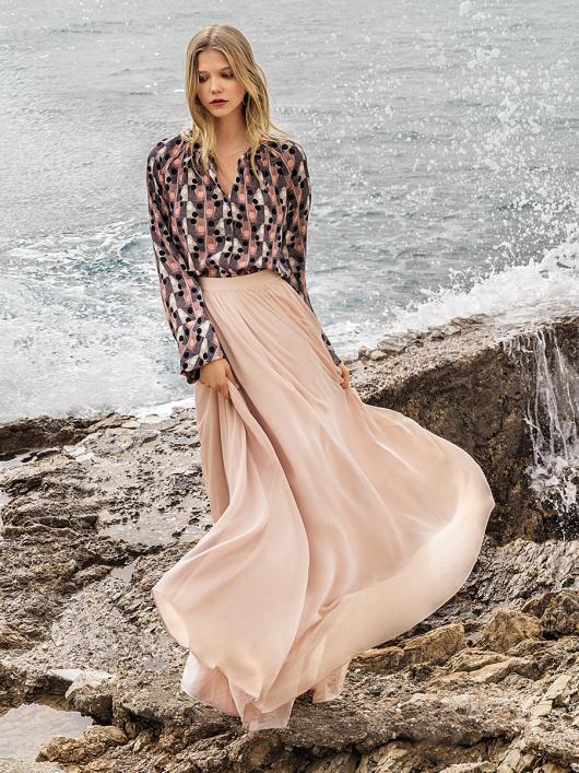 Блуза А-силуету з рукавами реглан