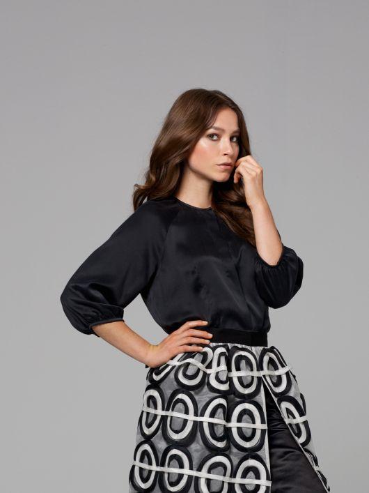 Блуза шовкова з рукавами реглан