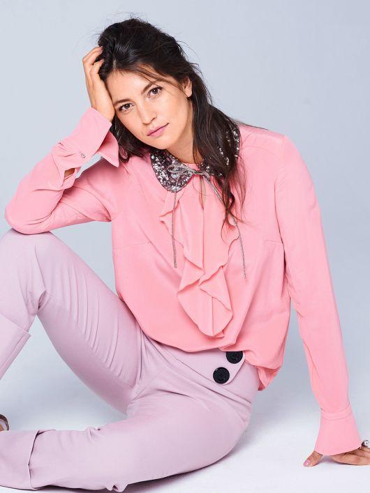 Блузка прямого крою зі знімним комірцем