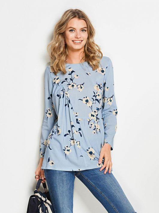 Блузка з оборкою і асиметричною деталлю